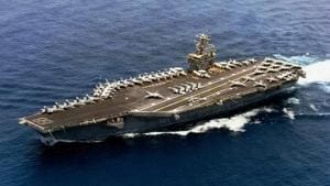 An aerial view of USS Nimitz, one of world's largest air craft carriers. USS Nimitz's joint exercise with the Indian Navy and the possible expansion of Malabar naval exercises will add to India's strength(PTI)