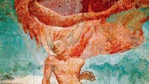 The Creation of Man by the British artist Glyn Warren Philpot shows a male figure in repose, two hands reaching down, and fire engulfing him from above. It combines new artistic influences from Philpot's travels, and his internal struggle with his own homosexuality.