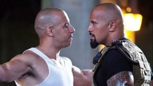 Vin Diesel and Dwayne Johnson in a still from Fast 5.