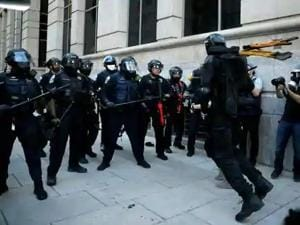 In Seattle, Washington, a riot was declared after thousands of protesters battled with police: throwing rocks, bottles, fireworks and other explosives.(Reuters)