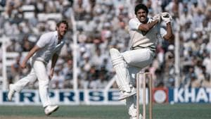 Kapil Dev pulls Ian Botham during a Test match between India and England at Wankhede Stadium in 1981.(Getty Images)
