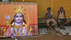 Preparations ahead of the ground-breaking ceremony for the construction of the Ram Temple, in Ayodhya.(PTI)
