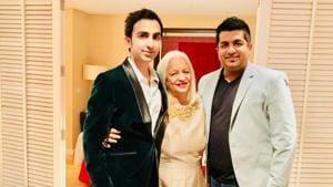 Pankaj with his mother Kajal and brother Sree(HT)