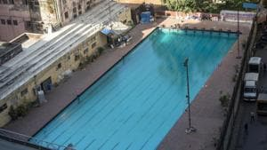 Maharashtra Kamgar Kalyan Mandal public swimming pool shut due to government order as precautionary measure for Corona Virus at Parel, Mumbai, India.(Aalok Soni/Hindustan Times)
