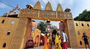 Artists in costume at Karsevak Puram ahead of the foundation stone laying ceremony of the Ram Janmabhumi temple in Ayodhya on Monday .(Deepak Gupta/HT PHOTO)