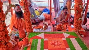 The three-day Vedic rituals which began on Monday will end with bhoomi poojan on Wednesday. PM Modi will perform the pooja at around 12.15 pm.(ANI)