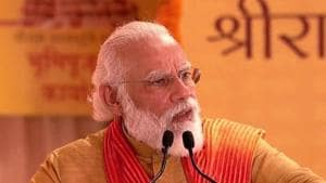 Prime Minister Narendra Modi addressing the foundation stone laying event in Ayodhya on Wednesday.