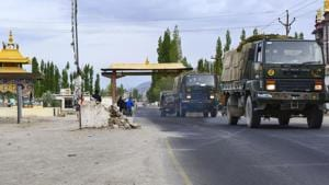 An army convoy moves towards LAC amid India-China border dispute in eastern Ladakh in Leh on July 12, 2020.(PTI File Photo)