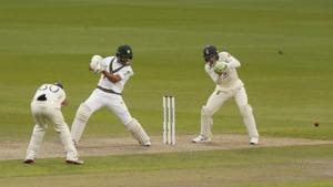 Pakistan's Shan Masood, center, plays a shot during the first day of the first cricket Test match between England and Pakistan at Old Trafford in Manchester, England, Wednesday, Aug. 5, 2020.(AP)