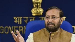 Union Environment Minister Prakash Javadekar said the draft environment impact assessment notification does not relax the process of public hearing.(HT PHOTO)