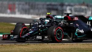 Formula One F1 - 70th Anniversary Grand Prix - Silverstone Circuit, Silverstone, Britain - August 8, 2020 Mercedes' Lewis Hamilton and Mercedes' Valtteri Bottas in action during practice Frank Augstein.(REUTERS)