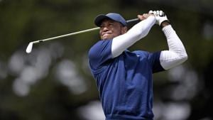Tiger Woods plays his shot from the 11th tee box during the third round of the 2020 PGA Championship golf tournament at TPC Harding Park.(USA TODAY Sports)