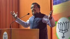 BJP National General Secretary Ram Madhav addresses 'Yuva Jan Samvad' virtual rally, at BJP office, in New Delhi.(PTI)