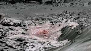 Mosaic image using false color to highlight the recently exposed brine, or salty liquids, that were pushed up from a deep reservoir under the crust of the drawrf planet Ceres.(via REUTERS)