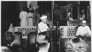 Jawaharlal Nehru addresses the midnight session of the Constituent Assembly of India in New Delhi on August 15, 1947.