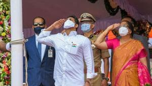 Andhra Pradesh chief minister YS Jagan Mohan Reddy hoisted the Tricolor during the 74th Independence Day celebrations in Vijayawada.(PTI Photo)