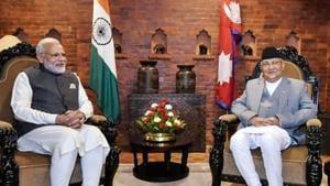 Prime Minister Narendra Modi with his Nepali counterpart KP Sharma Oli during delegation level talks in Kathmandu on Friday.(PTI)