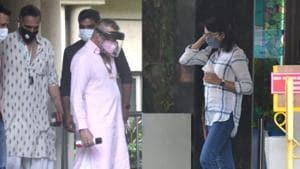Sanjay Dutt and Priya Dutt were spotted at Lilavati hospital on Sunday.(Varinder Chawla)
