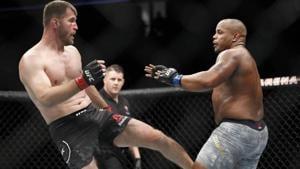 Daniel Cormier in a fight with Stipe Miocic.(AP)
