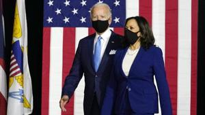 Biden and Harris will challenge Trump and Mike Pence from the Republican Party in the November 3 US presidenial election.(AP Photo)