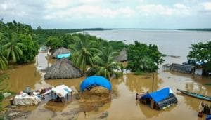 An inundated village in flood-affected East Godavari district, Tuesday, Aug. 18, 2020.(PTI photo)