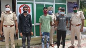 Chandigarh Police arrested three men for damaging an ATM machine at Manimajra's Subhash Nagar.(Sant Arora/HT)