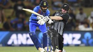 New Zealand's Colin Munro bats during the Twenty/20 cricket international between India and New Zealand at Bay Oval in Mt Maunganui, New Zealand, Sunday, Feb. 2, 2020.(AP)