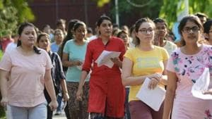 Chandigarh, India, May 5, 2019 : Students came out from their examine center after appearing their NEET exam at government model high school sector 18 Chandigarh, File photo by Karun Sharma/Hindustan Times