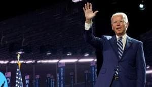 Joe Biden's speech -- the most important of his nearly half-century in politics -- set the tone for a bruising general election battle against Trump.(REUTERS)