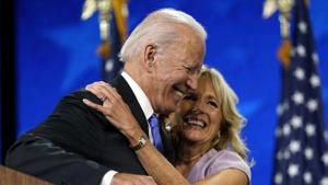 Democratic presidential candidate Joe Biden hugs his wife Jill Biden after his speech during the fourth day of the Democratic National Convention, Thursday, Aug. 20, 2020, at the Chase Center in Wilmington, Del.(AP Photo)