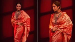 Malaika Arora steals hearts in regal red saree this Ganesh Chaturthi(Instagram/malaikaaroraofficial)