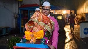 As part of the code of conduct, the police have banned any procession, while mandals have been barred from making temples.(PTI)