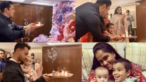 Salman Khan and his other family members perform Ganesh aarti at home.