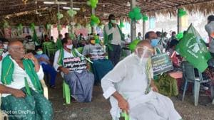 Some have described the agitation by farmers of Amaravati as one of the longest and most peaceful protests in the state.(HT Photo)