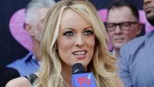 """Stormy Daniels had also sued Trump for defamation after the president's comments on Twitter that a man she said threatened her to stay quiet about their alleged affair in 2011 was """"nonexistent.""""(AP)"""