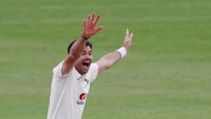 Cricket - Third Test - England v Pakistan - Ageas Bowl, Southampton, Britain - August 24, 2020 England's James Anderson celebrates taking the wicket of Pakistan's Abid Ali lbw, as play resumes behind closed doors following the outbreak of the coronavirus disease (COVID-19) Alastair Grant/Pool via REUTERS(REUTERS)