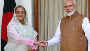 Prime Minister Narendra Modi greets Bangladesh Prime Minister Sheikh Hasina , Hyderabad House, New Delhi, October 5, 2019(Mohd Zakir/HT PHOTO)