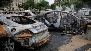 Cars burned in fires are seen following protests against the police shooting of Jacob Blake in Kenosha, Wisconsin, US.(VIA REUTERS)