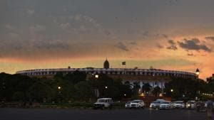 Clouds hover over Parliament House during sunset in New Delhi. Lok Sabha speaker Om Birla has called a meeting on Thursday to finalise arrangements to conduct the session during the pandemic.(Arvind Yadav/HT PHOTO)