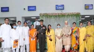 All India Institute of Medical Sciences, Bathinda, director Dr DK Singh (in dhoti) during the Independence Day function on the campus on August 15. Five doctors, including medical superintendent Dr Satish Gupta, have tested positive in the past 10 days, while the institute director is among those in quarantine.(HT file photo)