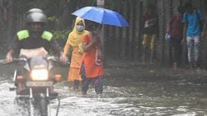 Rains lashed parts of the national capital on Friday(Raj K Raj/HT PHOTO)
