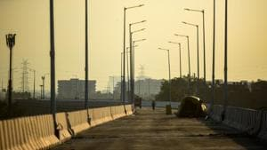 A view of an under construction flyover at Seelampur in New Delhi.(Amal KS/HT PHOTO)