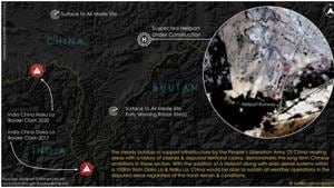 The imagery shows the suspected heliport under construction at the tri-junction of the borders of India, Bhutan and China, and at a distance of about 100 km from Doka La (Doka pass) and Naku La (Naku pass).(TWITTER/@detresfa.)