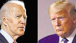 """Democratic nominee Joe Biden has been under mounting pressure to condemn violence accompanying the protests and dissociate himself from left wing activists involved in some of them. President Trump has been quick to condemn violence at anti-racism protests, blaming it on """"thugs"""" and """"anarchists"""".(AP PHOTO.)"""