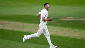James Anderson of England celebrates a wicket.(Getty Images)