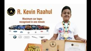 A seven-year-old boy, Kevin Raahul, set a record when he identified 150 car logos in one minute.kevin raahul india book(Facebook/@India Book of Records)