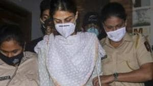 Bollywood actress Rhea Chakraborty outside the Enforcement Directorate (ED) office.(PTI File Photo)