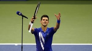 Novak Djokovic, of Serbia, reacts after defeating Damir Dzumhur, of Bosnia and Herzegovina, in the first round of the US Open tennis championships, Monday, Aug. 31, 2020, in New York. (AP Photo/Frank Franklin II)(AP)