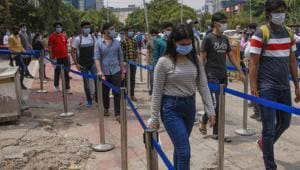 Students come out after appearing in JEE Main exam, at a centre in Noida(PTI)