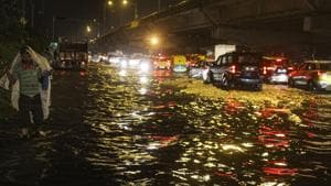 In Delhi, rains led to heavy waterlogging, which disrupted traffic movement on key roads.(PTI photo)